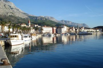 Evening panorama of Makarska, Croatia, Central Dalmatia